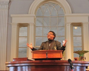 Rev Jeff at the pulpit