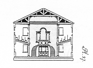sketch of church inside original plans