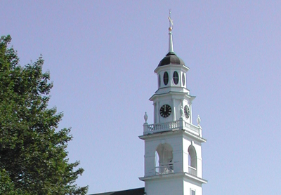 The Steeple clock over the Paul Revere Bell