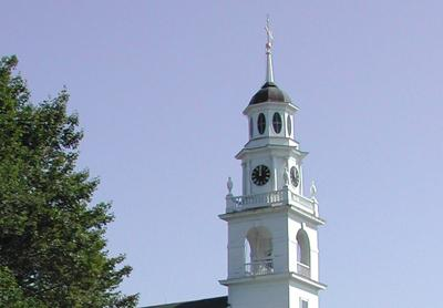 Steeple showing clock and belfry