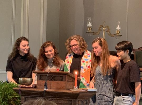 Celebrating four youth's bridging into adulthood from a UU standpoint