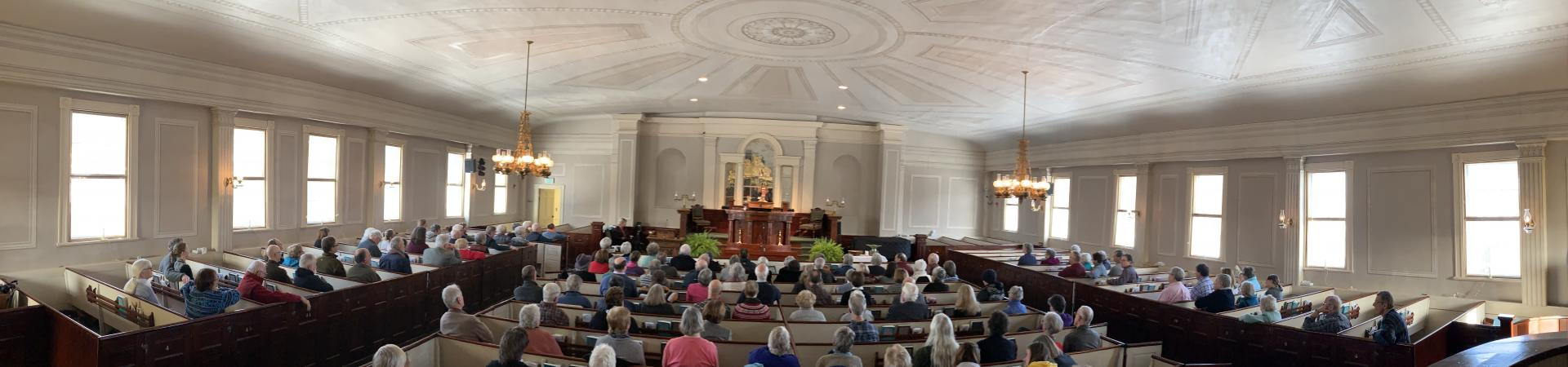 Panoramic view at a Sunday Church service